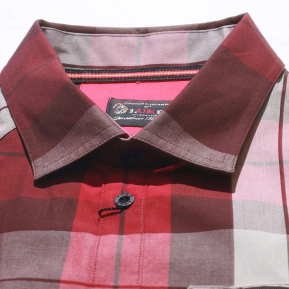 Luke Mens Brown Luke Chocolate Mix Block Roll Up Sleeve Military Shirt main image