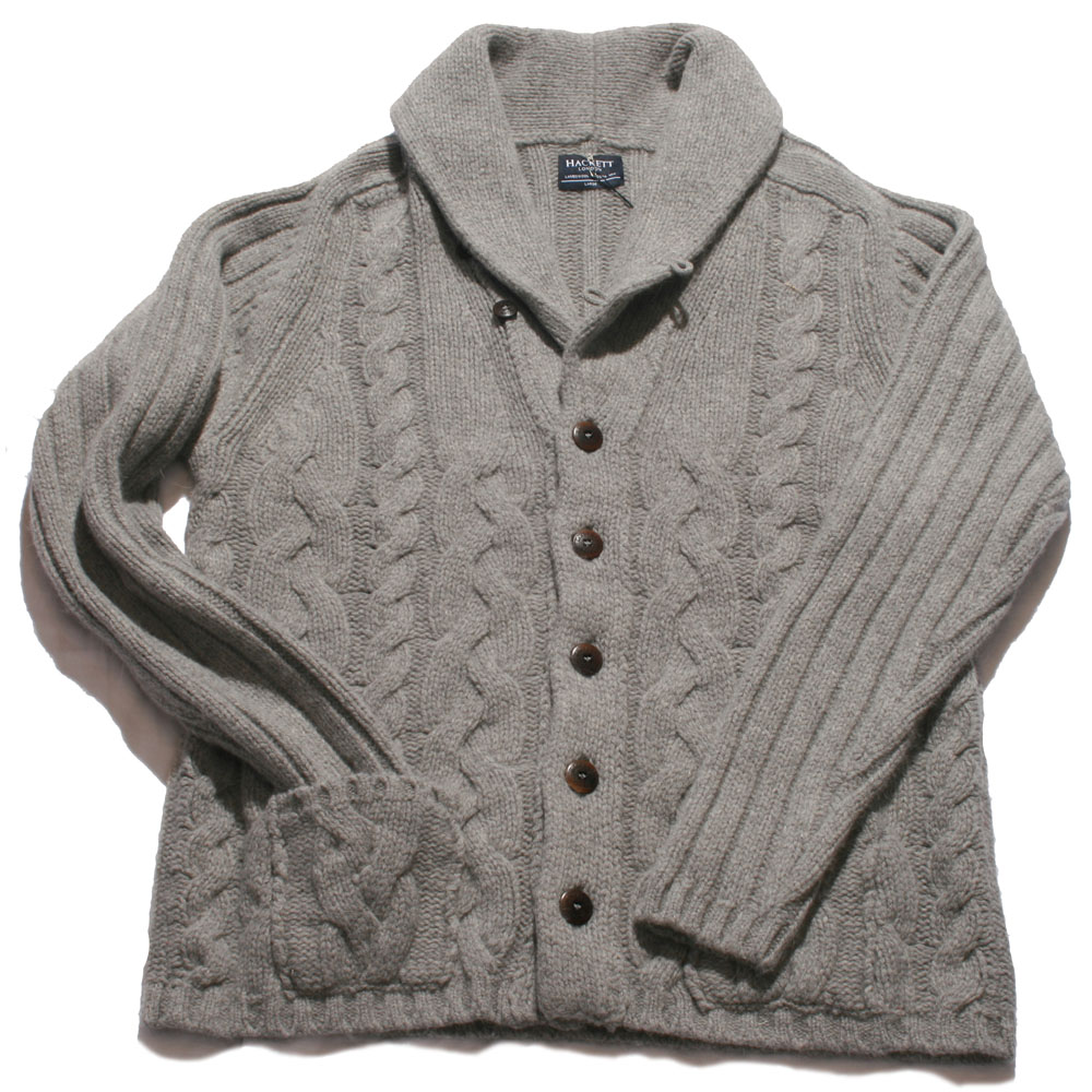 5d9cfd2d4 Hackett Grey Chunky Cable Knit Cardigan