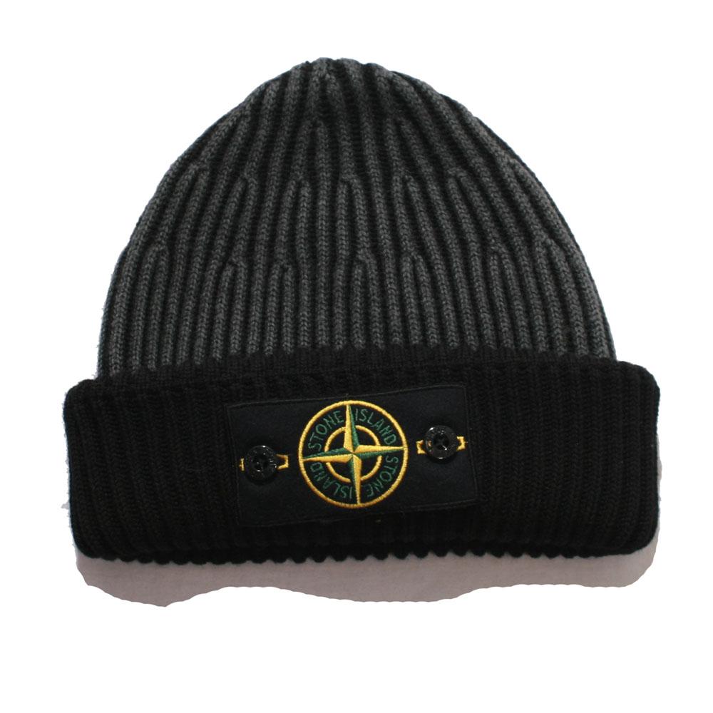 Stone Island Black Grey Button Badge Hat  3b712028551