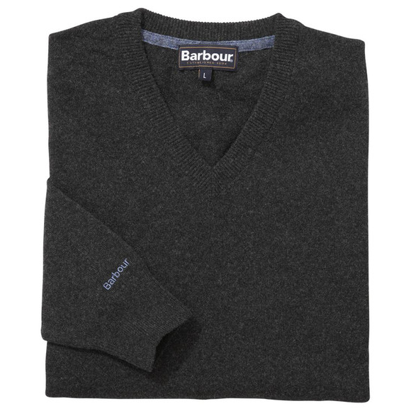 Barbour Lifestyle Mens Grey Lambswool V-Neck Jumper main image