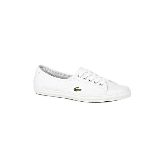 ee98910326edd4 Lacoste Womens White Lacoste Ziane SPW Canvas Trainer - White Green main  image