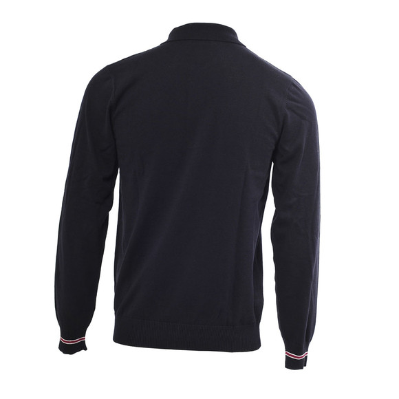 Fred Perry Mens Blue Fred Perry Long Sleeved Navy Tipped Knitted Polo main image