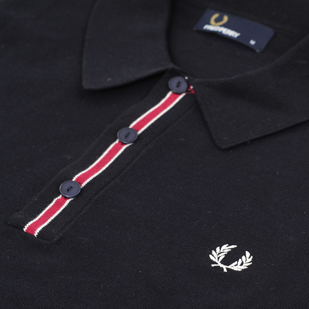 Fred Perry Long Sleeved Navy Tipped Knitted Polo main image