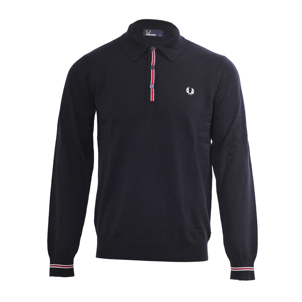 38a1d9acd93e Fred Perry Long Sleeved Navy Tipped Knitted Polo main image