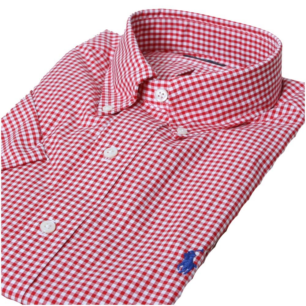 e252c56b Mens Red Ralph Lauren Red/White Custom Fit Short Sleeve Check Shirt