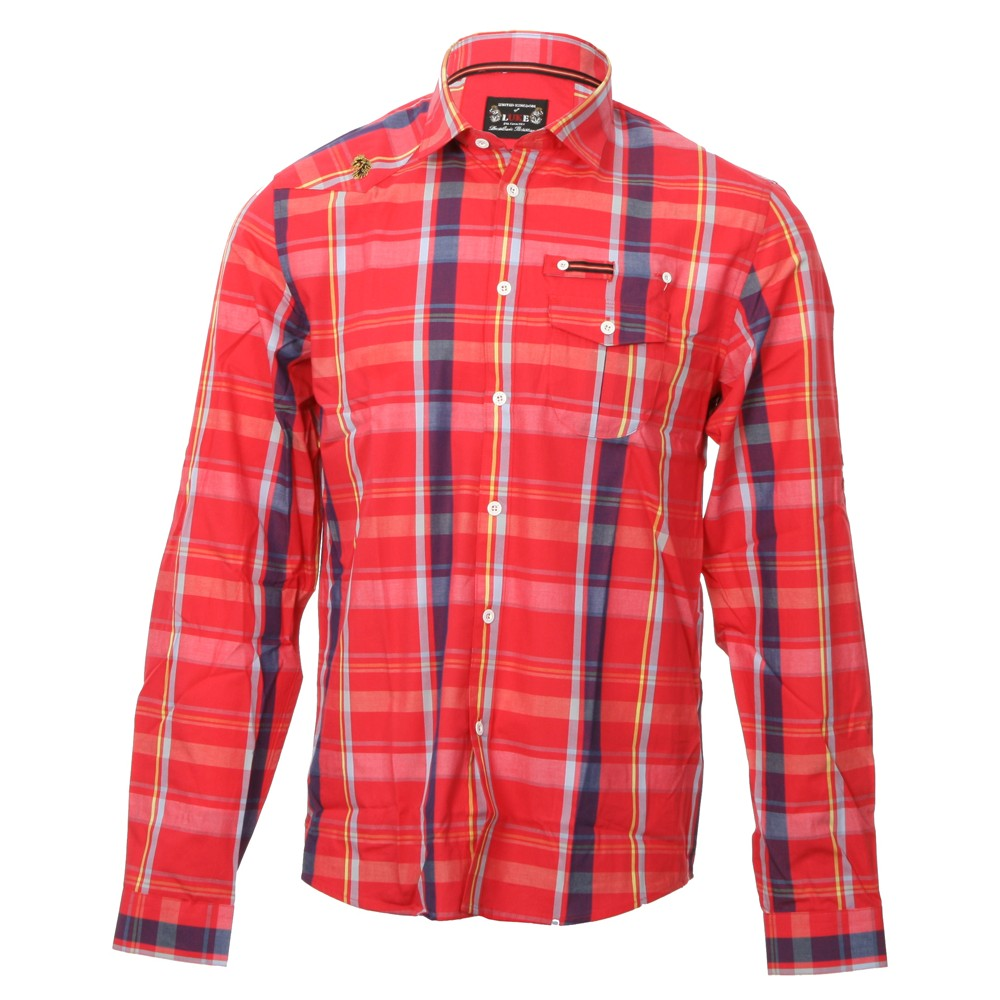 Luke Sport Red Block Roll Up Sleeve Military Shirt main image