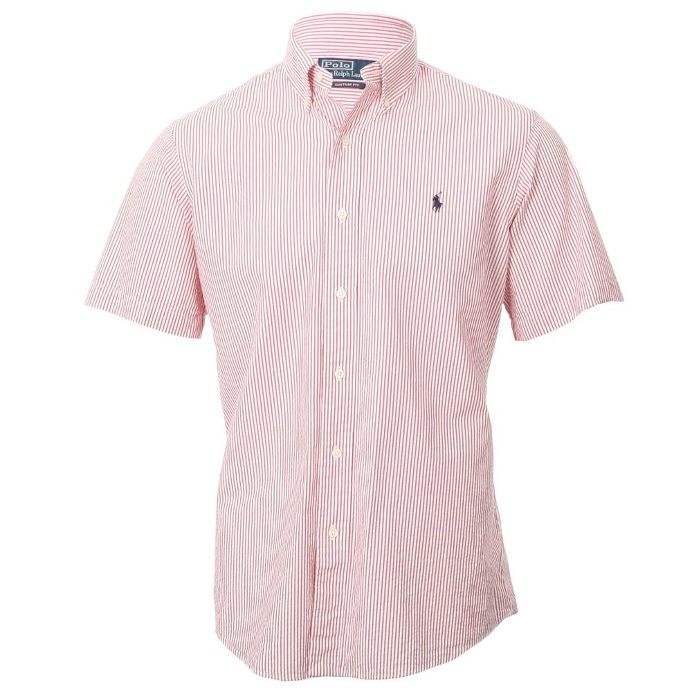 7046a19b0 Polo Ralph Lauren Mens Red Ralph Lauren Red White SeerSucker Stripe Shirt