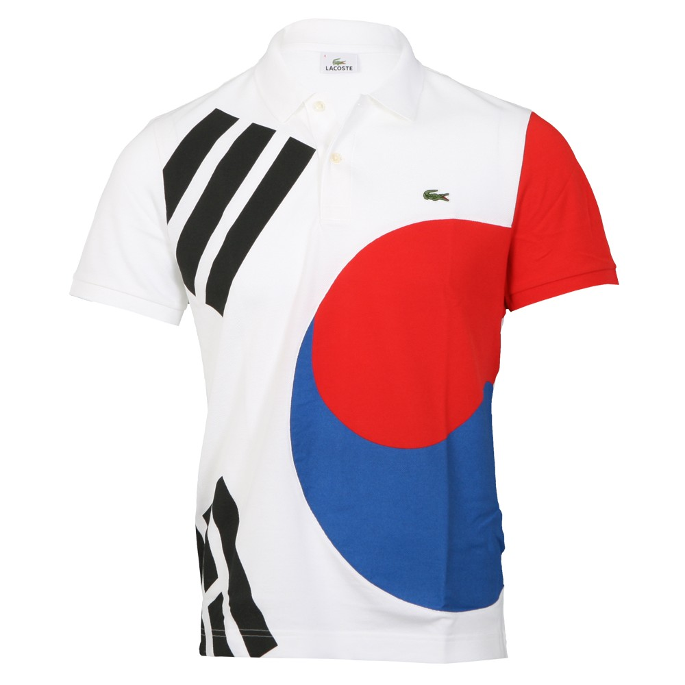 333c470a668da5 Lacoste Mens White Lacoste PH6512 Korea Flag Polo