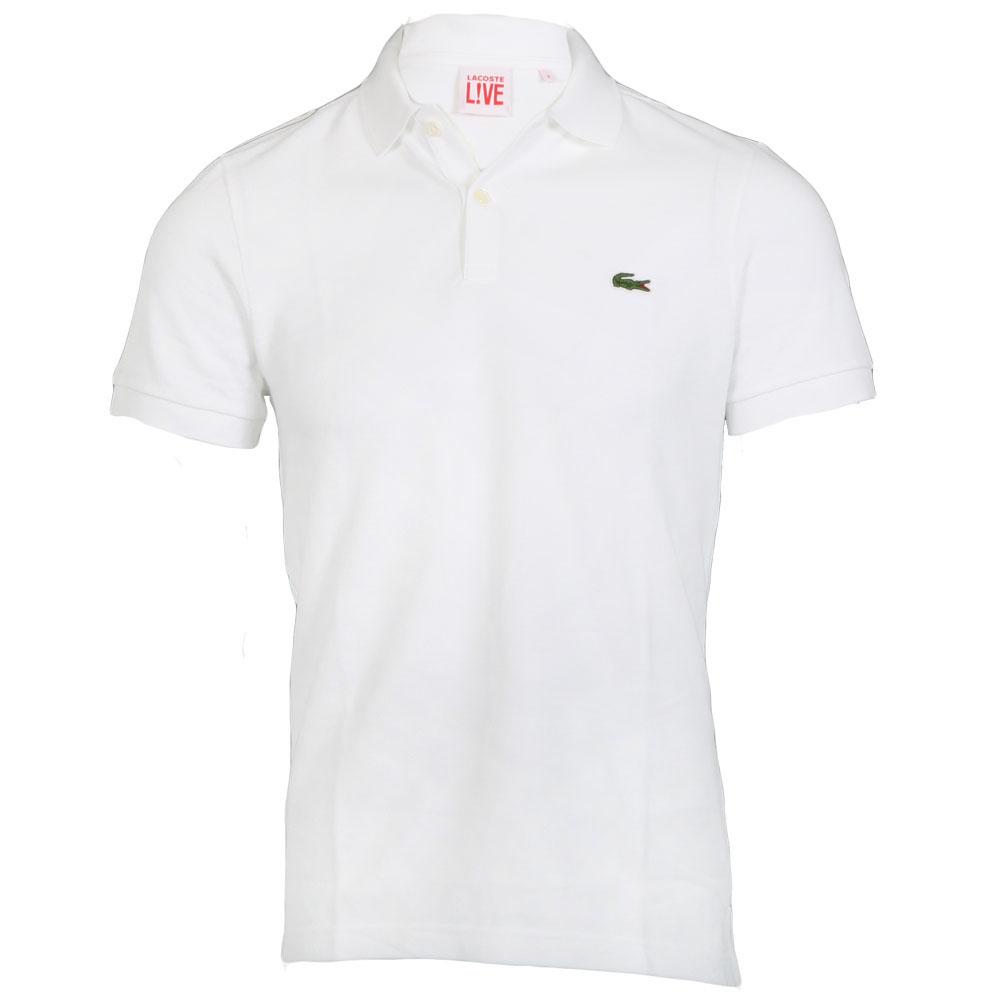White Lacoste Mens Plain Polo Shirt