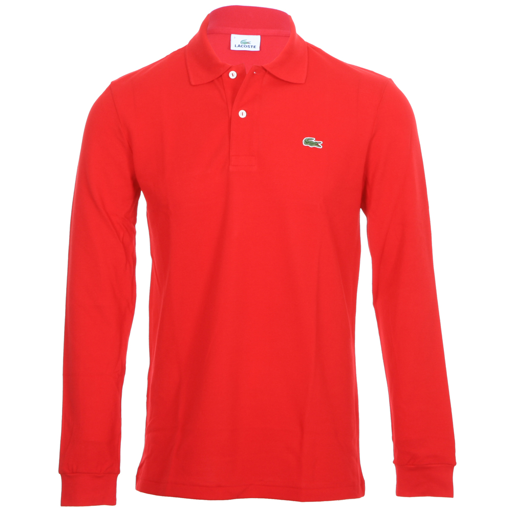 f1f5b0ae Lacoste L1312 Red Long Sleeve Polo | Oxygen Clothing