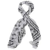 white leaf skull print scarf