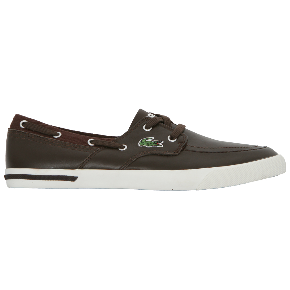 2645a2fbbdd8d1 Lacoste Mens Brown Lacoste Newton Brown Boat Shoe