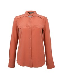 Maison Scotch Womens Pink Clean Look Silk Shirt With Necklace