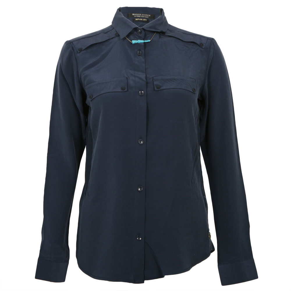 Maison Scotch Clean Look Silk Shirt With Necklace main image