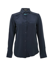 Maison Scotch Womens Blue Maison Scotch Clean Look Silk Shirt With Necklace