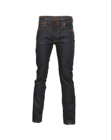 Nudie Jeans Mens Blue Thin Finn Organic Dry Ecru Embro Jean