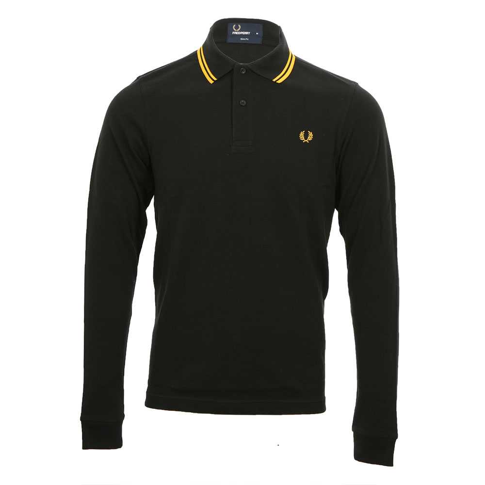 a95c77f3f Fred Perry Black/Yellow Long Sleeve Slim Fit Twin Tipped Polo main image