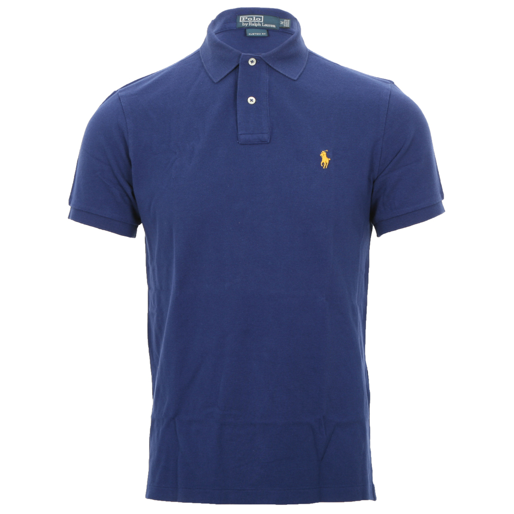 Polo Ralph Lauren Mens Blue Ralph Lauren Fall Royal Custom Fit Polo Shirt c301ae9a6226