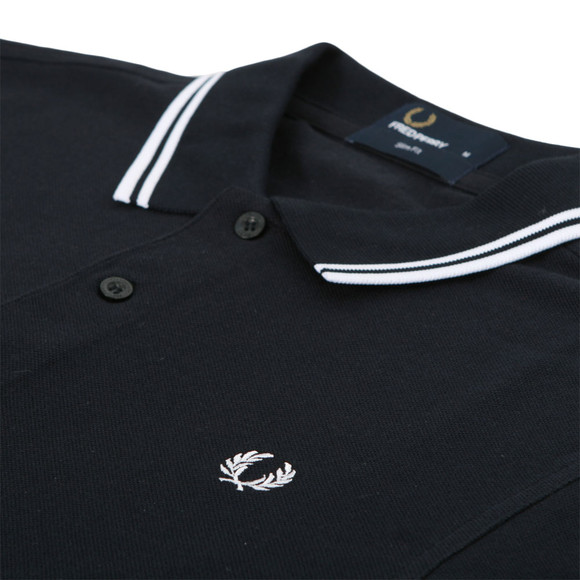 9b10e993d Fred Perry Mens Blue Fred Perry Navy White Long Sleeve Twin Tipped Polo  main image