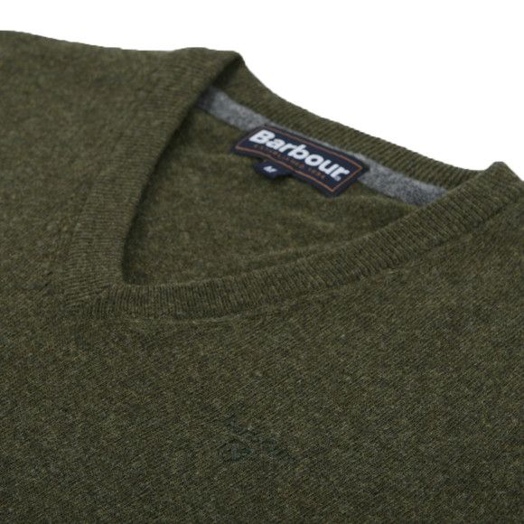 Barbour Lifestyle Mens Green Lambswool V Neck Jumper