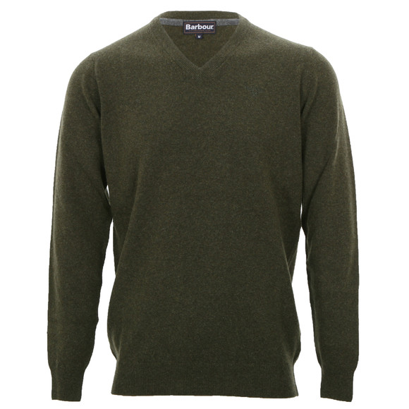 Barbour Lifestyle Mens Green Lambswool V Neck Jumper main image