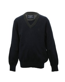 Hackett Boys Blue Hackett Boys Elbow Patch V Neck Jumper