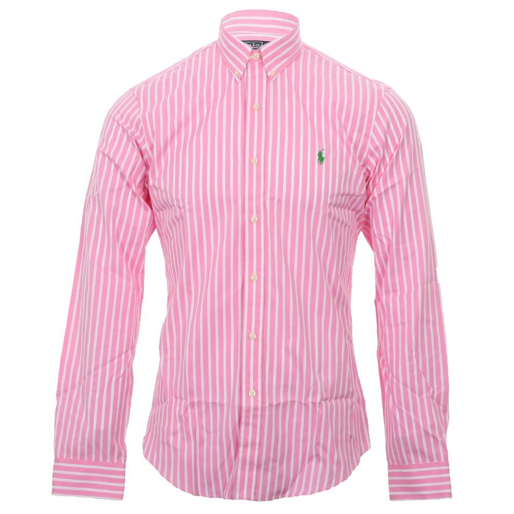 f854932cb29 Polo Ralph Lauren Mens Pink Ralph Lauren Slim Fit Broadcloth Fancies Stripe  Shirt