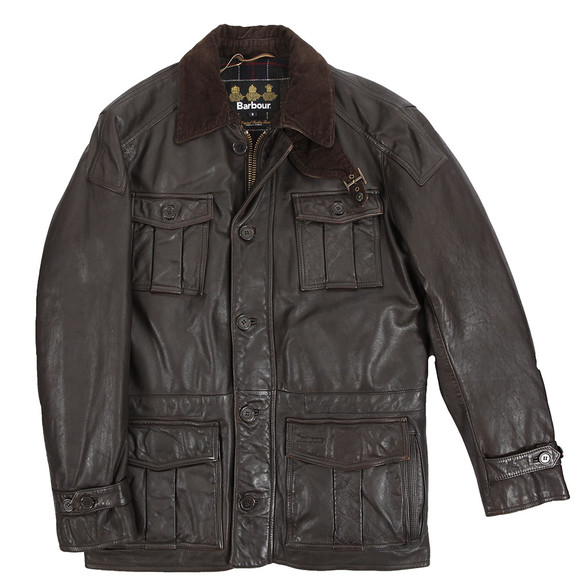 Barbour Lifestyle Mens Brown Barbour Load Brown Leather Jacket main image