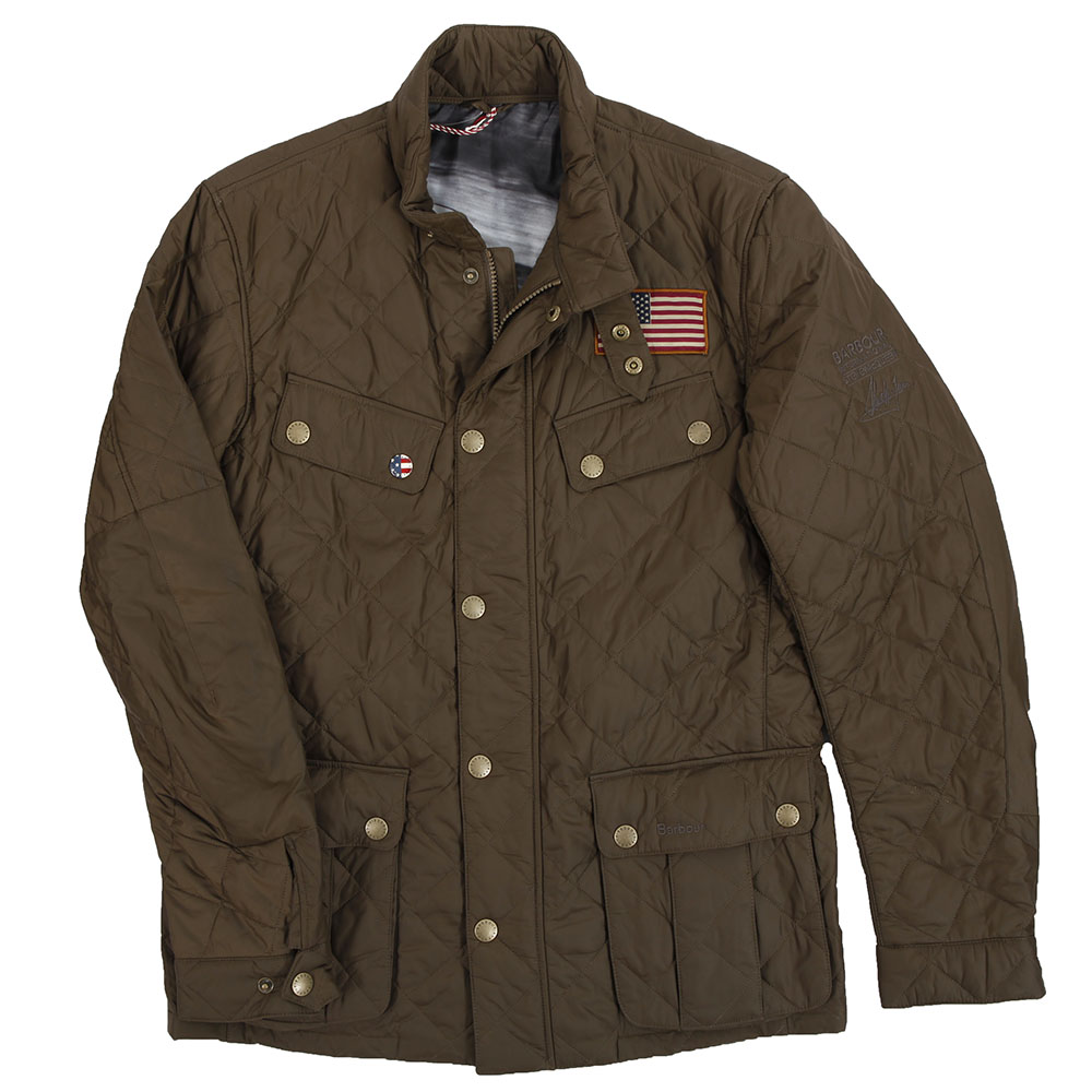 Barbour Int. Steve McQueen Mens Green Barbour Steve McQueen Jefferies Olive  Quilted Jacket ffd2ab896b14