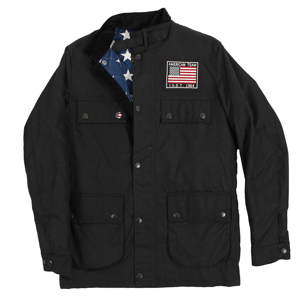 f2a6abe00b0 Mens Black Barbour Steve McQueen Crown Black Wax Jacket