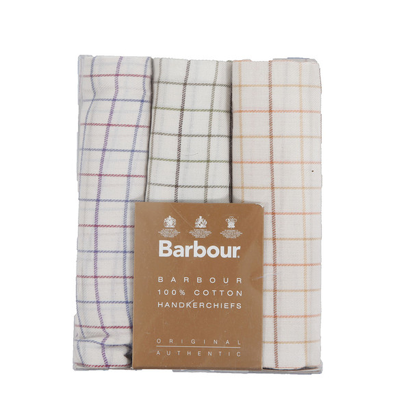 Barbour Lifestyle Mens White Tattersall Check Multi Handkerchiefs main image