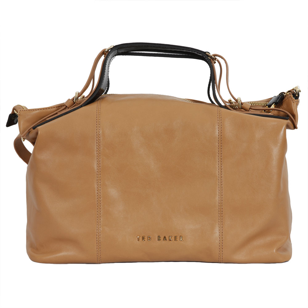 66b271b11 Ted Baker Womens Brown Ted Baker Alum Ted Letters Leather Midi Bag main  image. Loading zoom