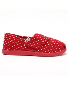 Toms Girls Red Toms Girls Classic Red Dot Slip On