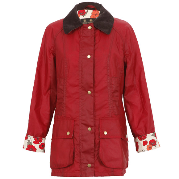 Barbour Lifestyle Womens Red Print Beadnell Wax Jacket main image